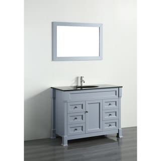 Bosconi 43-inch Grey Vanity Cabinet with Black Glass Top