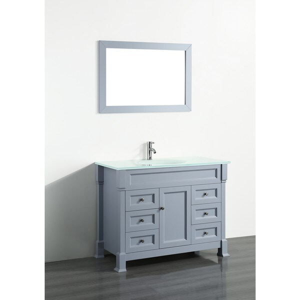 Bosconi 43-inch Grey Vanity Cabinet with White Tempered Glass Top ...