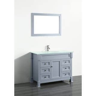 Bosconi 43-inch Grey Vanity Cabinet with White Tempered Glass Top and Mirror