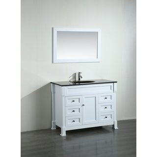 Bosconi 43-inch White Vanity Cabinet with Black Glass Top