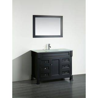 Bosconi SB-278BEWG 43-inch Black Vanity Cabinet with White Tempered Glass Top and Mirror