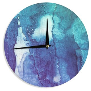 KESS InHouse Malia Shields 'Blues Abstract Series 1' Green Teal Wall Clock