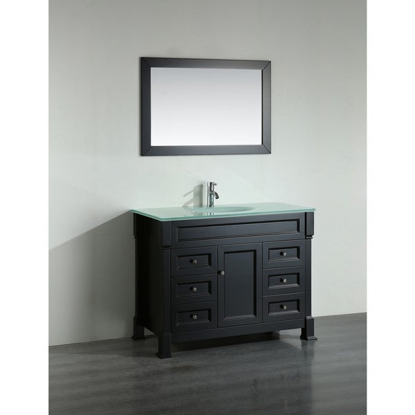 Bosconi 43-inch Black Vanity Cabinet with Tempered Glass Top ...