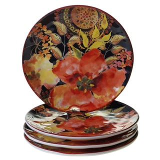 Certified International Watercolor Poppies 8.5-inch Salad/Dessert Plates (Set of 4)