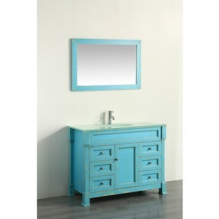 Bosconi 43-inch Green Vanity Cabinet with Tempered Glass Top