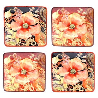 Certified International Watercolor Poppies Assorted Design Ceramic 6-inch Canape Plate (Set of 4)