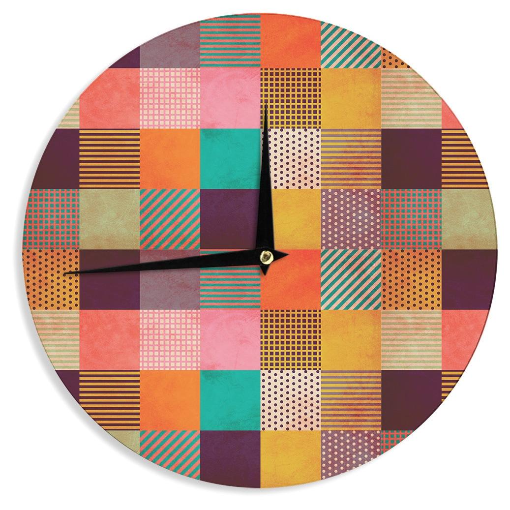 Kess InHouse Louise Machado Decorative Pixel Warm Patches Wall Clock 12-Inch