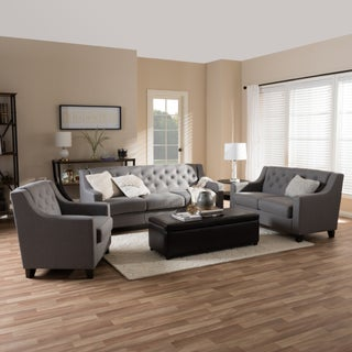 Copper Grove Muir Modern and Contemporary Fabric Upholstered Button-Tufted 3-piece Living Room Sofa Set