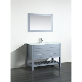 Bosconi 43-inch Grey Vanity Cabinet with White Phoenix Stone Top