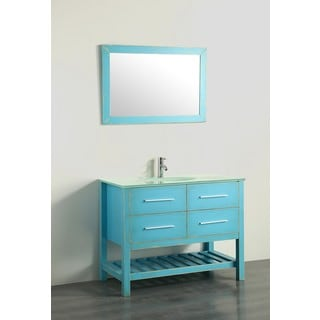 Bosconi 43-inch Green Vanity Cabinet with Glass Top