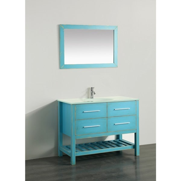 Bosconi 43-inch Green Vanity Cabinet with White Tempered Glass Top ...
