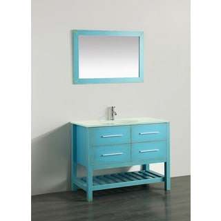 Bosconi 43-inch Green Vanity Cabinet with White Tempered Glass Top