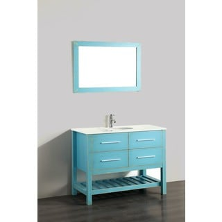 Bosconi 43-inch Green Vanity Cabinet with White Phoenix Stone Top