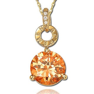 Suzy Levian Golden Sterling Silver Orange Cubic Zirconia Pendant