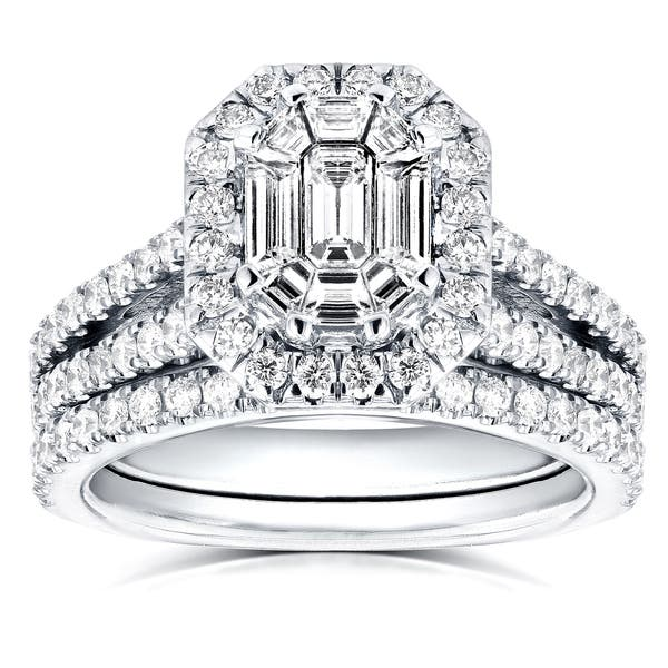 2ct Emerald Diamond Baguette Halo Art Deco Engagement Ring 14ct White Gold Over