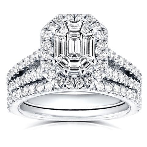 Annello by Kobelli 14k White Gold 1 1/2ct Emerald and Round Diamond Art Deco Halo Bridal Set