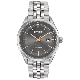 Citizen Eco-Drive Men's Pairs Silver Stainless Steel Watch
