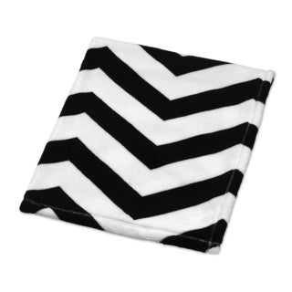 Sweet Jojo Designs Black and White Fleece Chevron-patterned Plush Baby Blanket
