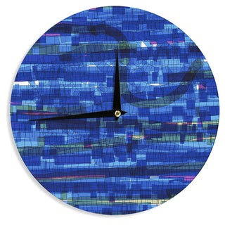 KESS InHouseFrederic Levy-Hadida 'Squares Traffic Blue' Wall Clock
