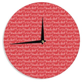 KESS InHouseHolly Helgeson 'Glass Half-Full' Red White Wall Clock