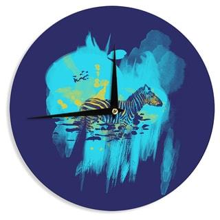 KESS InHouseFrederic Levy-Hadida 'Watercolored Blue' Zebra Wall Clock