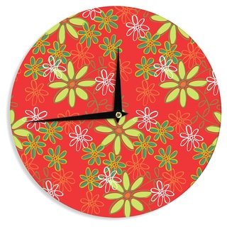 KESS InHouseHolly Helgeson 'Daisy Mae' Red Floral Wall Clock