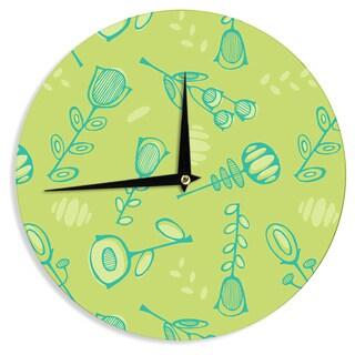 KESS InHouseHolly Helgeson 'Hattie Too' Green Floral Wall Clock