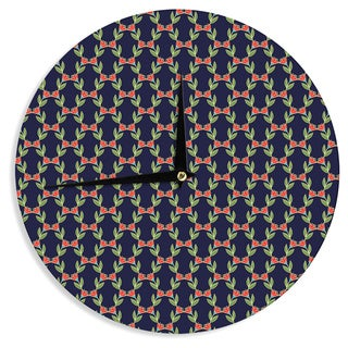 KESS InHouseHolly Helgeson 'Midnight Vine' Black Pattern Wall Clock