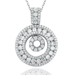 Suzy Levian Sterling Silver Cubic Zirconia Pave Double Circle Pendant