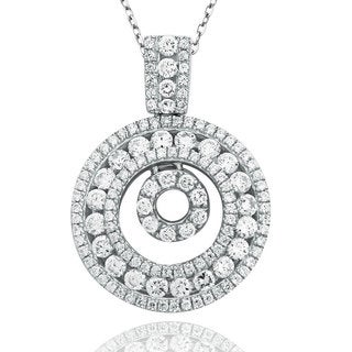 Suzy Levian Sterling Silver Cubic Zirconia Pave Double Circle Pendant - White