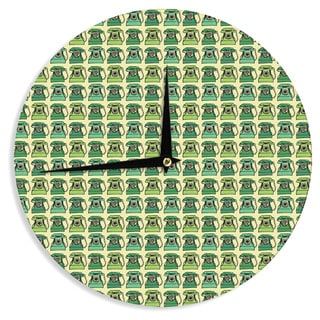 KESS InHouseHolly Helgeson 'Vintage Telephone' Green Pattern Wall Clock