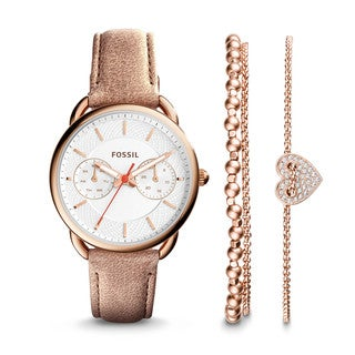 Fossil Women's ES4021SET Tailor Multi-Function Silver Dial Sand Leather Watch With Bracelets