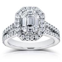 Annello by Kobelli 14k White Gold 1 1/5ct Emerald and Round Diamond Art Deco Halo Engagement Ring