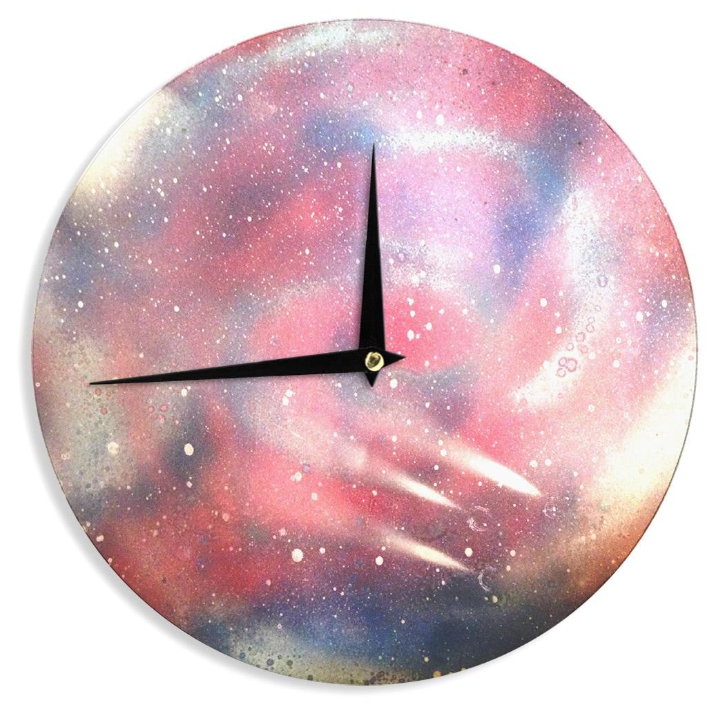 KESS InHouseInfinite Spray Art Cascade Swirl Red Pink Wall Clock (Cascade Swirl)