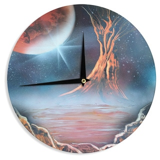 KESS InHouseInfinite Spray Art 'Embark' Nature Blue Wall Clock