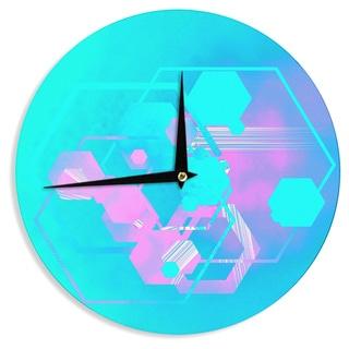 KESS InHouseInfinite Spray Art 'Emersion' Pink Aqua Wall Clock