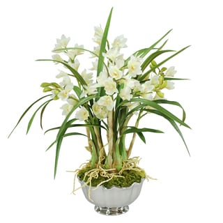 Jane Seymour Botanicals White Cymbidium Orchids in 25-inch-tall Silver Metal Bowl
