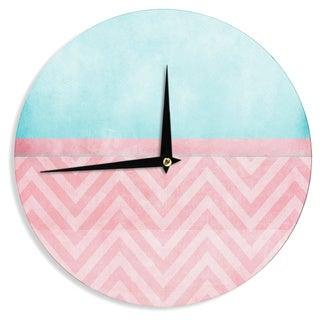 KESS InHouseIngrid Beddoes 'Light Chevron Pink & Turquoise' Blush Aqua Wall Clock