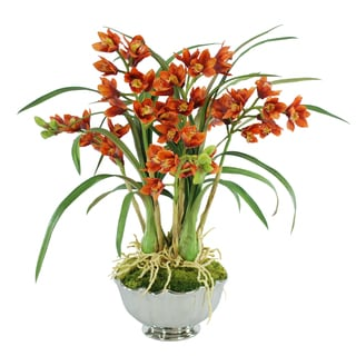 Jane Seymour Botanicals 25-inch Rust-colored Silk Cymbidium Orchids In Bowl