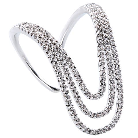 Silver Micro Pave Cubic Zirconia Knuckle-length Ring by Simon Frank Designs