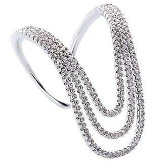 Simon Frank CZ Rhodium Overlay Micro Pave Knuckle-length Ring