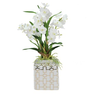 Jane Seymour Botanicals Vanda Orchids In 20-inch White Fancy Ceramic Vase