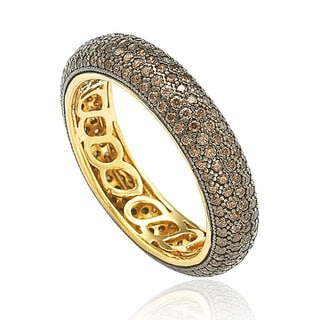 Suzy Levian Golden Sterling Silver Cubic Zirconia Brown Eternity Ring