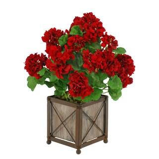 Jane Seymour Botanicals Red Geranium Bush in 18-inch Wooden Planter