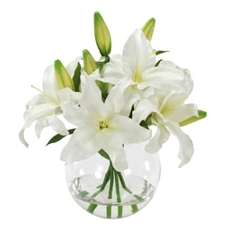Jane Seymour Botanicals White Casablanca Lily Bouquet in Clear Glass 16-inch Tall Vase