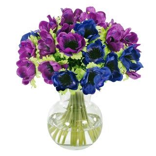Jane Seymour Botanicals Blue and Purple Poppy Anemone Bouquet in 11-inch Clear Glass Vase