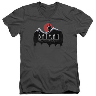 Batman The Animated Series/Distressed Logo Short Sleeve Adult T-Shirt V-Neck 30/1 in Charcoal