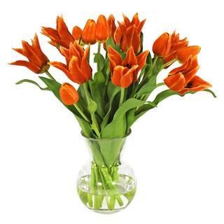 Jane Seymour Botanicals Orange Dutch Tulips In 15-inch Tall Glass Vase