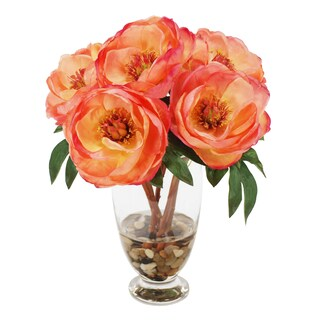 Jane Seymour Botanicals Salmon Peony Bouquet in 14-inch Glass Vase
