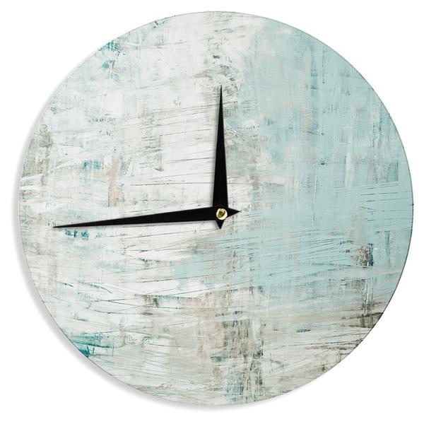 KESS InHouseIris Lehnhardt 'Bluish Green' Neutral Blue Wall Clock